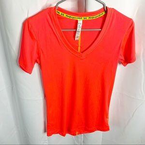 Under armor orange V-neck tshirt xs